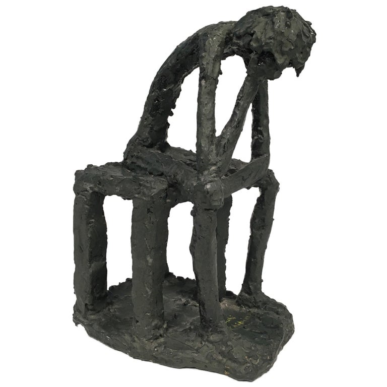 Mr. Thinker Sculpture in Plaster Signed by Bianchi G. Chibian For Sale