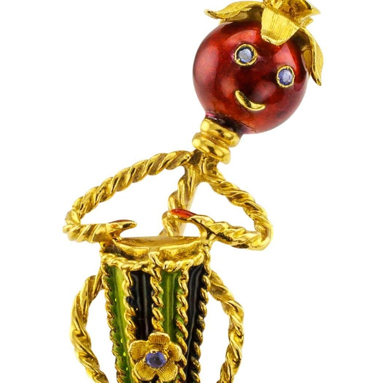 Mr Tomatoe Conga Drum Player Enamel Sapphire Gold Brooch In Excellent Condition For Sale In Los Angeles, CA