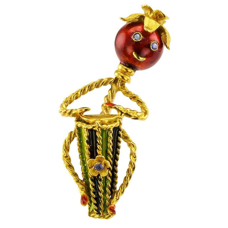Mr Tomatoe Conga Drum Player Enamel Sapphire Gold Brooch For Sale
