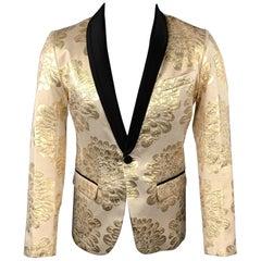 MR TURK Size 36 Beige & Gold Brocade Cotton Blend Shawl Collar Sport Coat
