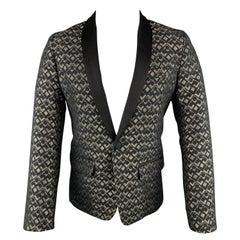 MR TURK Size 36 Black & Gold Metallic Jacquard Shawl Collar Sport Coat
