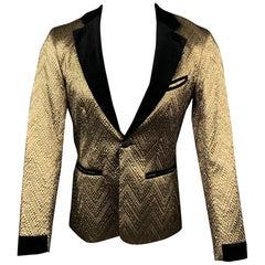 MR TURK Size 36 Gold & Black Brocade Polyester Notch Lapel Sport Coat