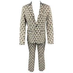 MR TURK Size 40 Beige & Navy Butterfly Print Cotton Blend Notch Lapel Suit