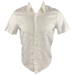 MR. TURK Size XS White Linen / Cotton Button Up Short Sleeve Shirt