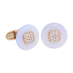 Margherita Burgener Blue Chalcedony Diamond Rose Gold Made in Italy Cufflinks