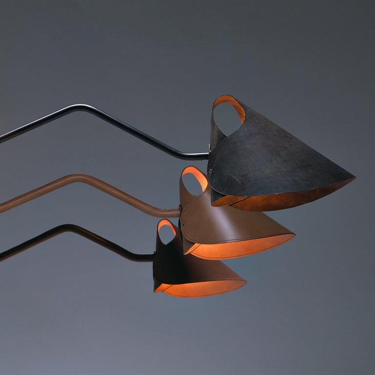 Dutch Mrs.Q Table Lamp in Black Leather with Black Shade by Jacco Maris - 1stdibs NY For Sale