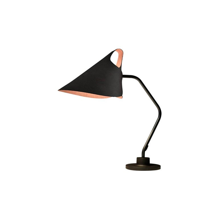 Mrs.Q Table Lamp in Black Leather with Black Shade by Jacco Maris - 1stdibs NY For Sale