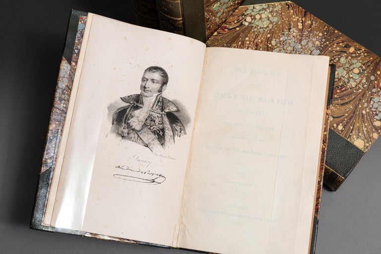 4 Volumes. M.Savary. Memoirs Of The Duke Rovigo(Written By Himself). Illustrative Of The History Of Emperor Napoleon. Bound in 3/4 green morocco, marbled boards and endpapers, top edges gilt, raised bands, gilt panels, frontispiece in Volume one.