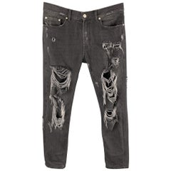 MSGM Size 30 Black Distressed Denim Zip Fly Jeans
