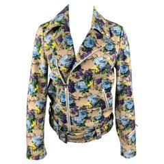 MSGM Size 4 Khaki & Purple Floral Cotton Biker Jacket