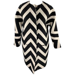 MSGM Size 6 Black & White Chevron Wool / Silk Collarless Coat