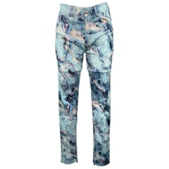 MSGM Size 6 Blue Cotton Marbled Skinny Jeans