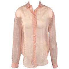 MSGM Size 6 Rose See Through Polyamide Button Up Blouse
