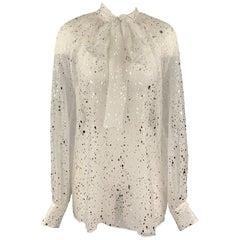MSGM Size 8 White & Silver Metallic Splatter Silk Bow Collar Blouse