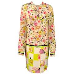 MSGM Size M Multi-Color Floral Long Sleeve Shift Dress