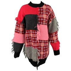 MSGM Size M Red & Pink Wool / Acrylic Oversized Sweater