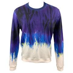 MSGM Size S Purple & White Tie Dye Cotton Crew-Neck Sweatshirt