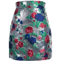 MSGM Women's Silver Flower Star Jacquard Knit Metallic Skirt