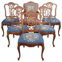Mt Airy Crotch Walnut French Provincial Louis XV Needlepoint Dining Chairs