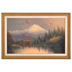 Mt. Rainier, Washington Antique Oil Painting on Canvas, Eliza Barchus circa 1900