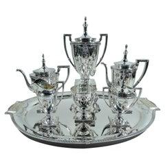 Mt Vernon Pompeiian Sterling Silver 6-Piece Coffee & Tea Set on Tray