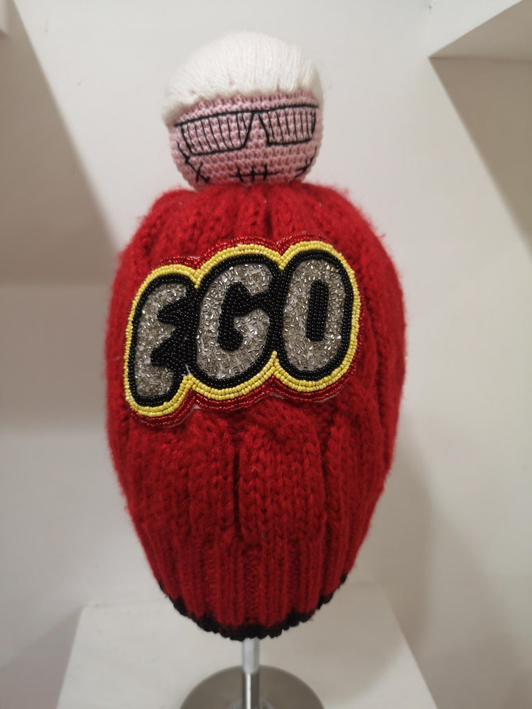 Gray Muamua red wool Karl doll Ego beads hat For Sale