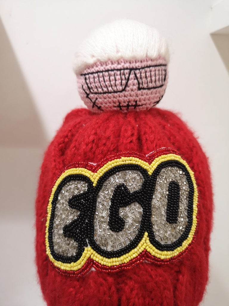 Women's or Men's Muamua red wool Karl doll Ego beads hat For Sale