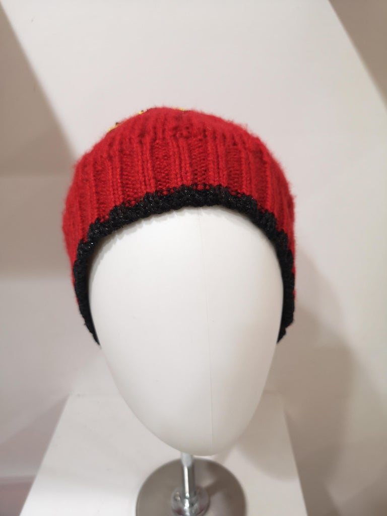 Muamua red wool Karl doll Ego beads hat For Sale 3