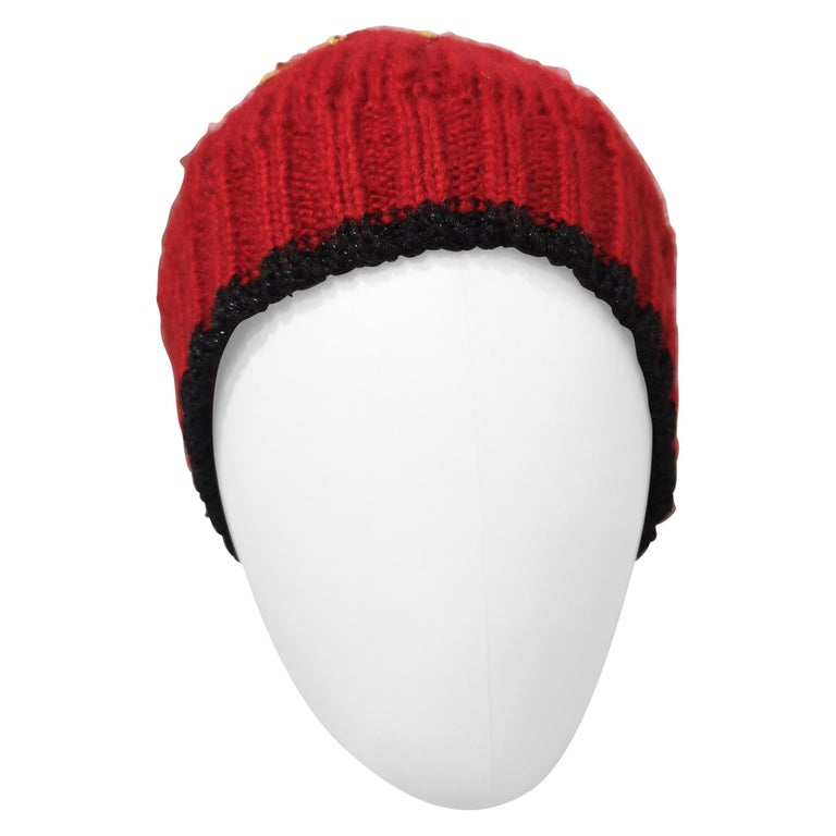 Muamua red wool Karl doll Ego beads hat For Sale
