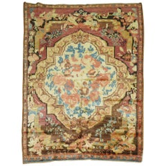 Muave Brown Handwoven Antique Armenian Floral Karabagh Rug Dated 1934
