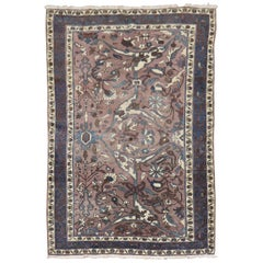 Muave Brown Handwoven Antique Persian Accent Rug