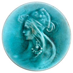 "Mucha, Art Nouveau Ceramic Representing Sarah Bernard, Signed ""MUCHA"", 1900"