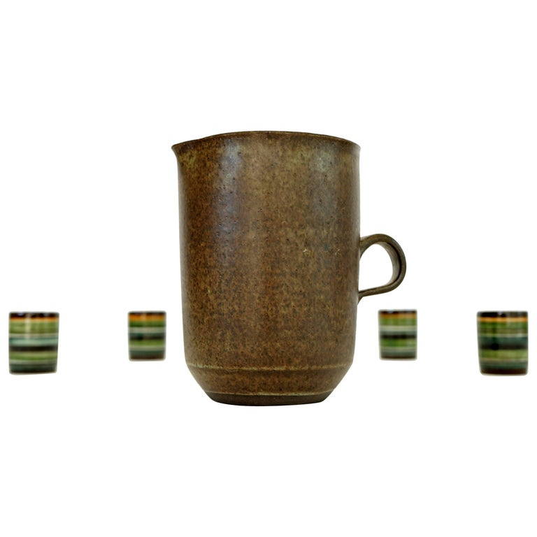 bb0493d7e50 Mug and Four Cups, Pottery by Bücking-Börnsen, 1960s For Sale at 1stdibs