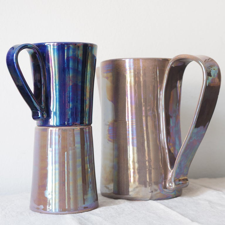 Hand-Crafted Mug in Ceramics Handmade in Italy with Shimmering Technique Called Lustro For Sale