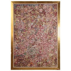 Mughal Embroidered Metal Threaded Tapestry from Rajasthan Framed