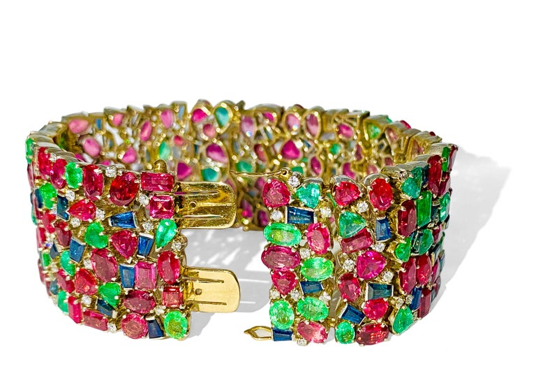 Anglo-Indian Mughal Empire Burma Ruby Emerald Sapphire Bracelet For Sale