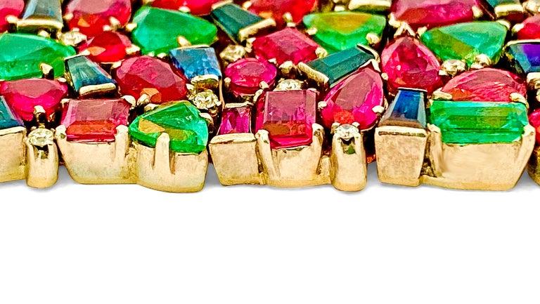 Round Cut Mughal Empire Burma Ruby Emerald Sapphire Bracelet For Sale