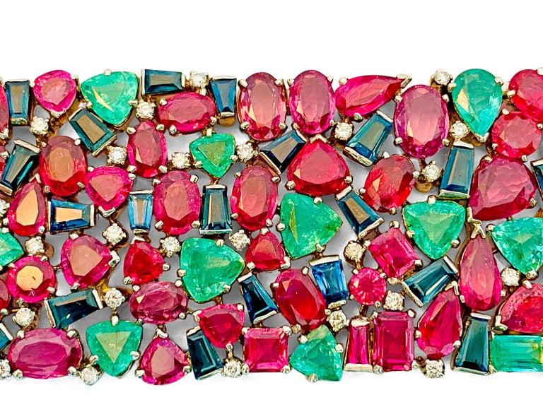 Mughal Empire Burma Ruby Emerald Sapphire Bracelet In Good Condition For Sale In Miami, FL