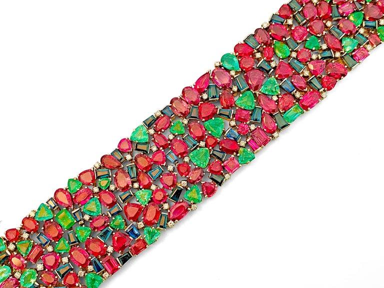 Women's Mughal Empire Burma Ruby Emerald Sapphire Bracelet For Sale