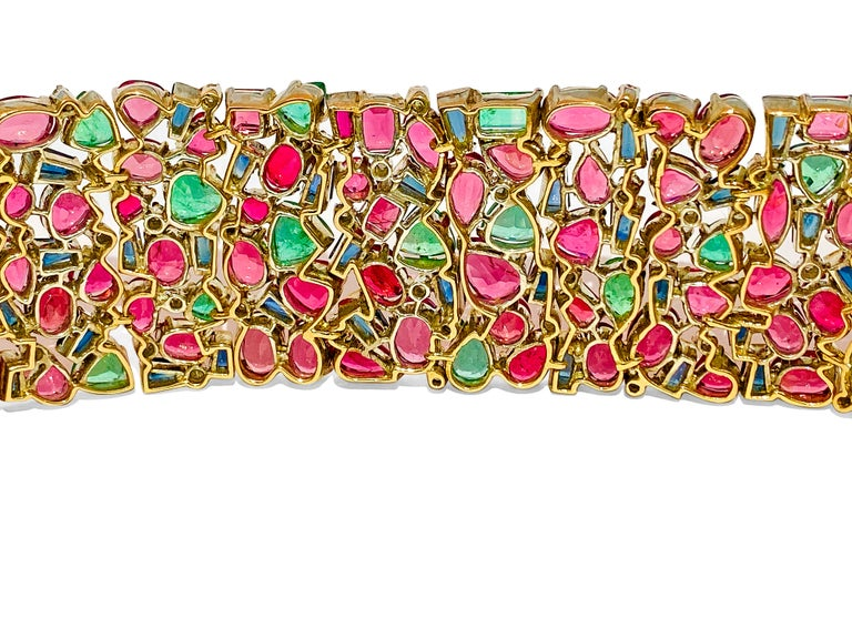 Mughal Empire Burma Ruby Emerald Sapphire Bracelet For Sale 1