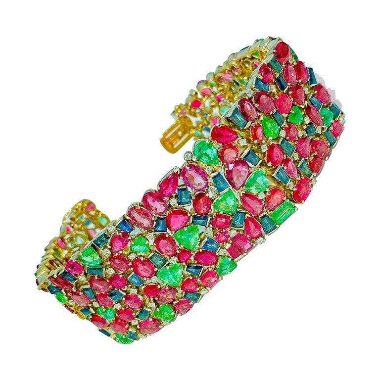 Mughal Empire Burma Ruby Emerald Sapphire Bracelet For Sale