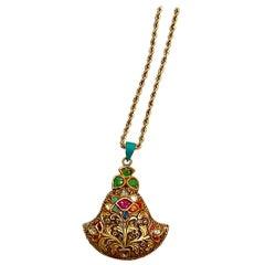 Mughal Magnificenct Traditional Navratan Rose Cut Diamond Vintage Necklace