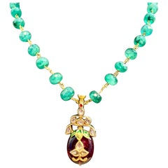 Mughal Magnificent Traditional Emerald Bead Rose Cut Diamond Vintage Necklace