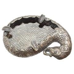 Mughal Raj Style Elephant Shape Silver Cigar Ashtray