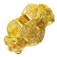 Mughal Style 22 Karat Magnificent Yellow Gold Bangle or Bracelet 82 Gm, Estate