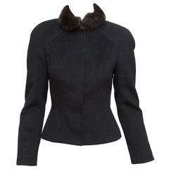 Mugler Black 1990s Fur-Collar Cashmere Jacket