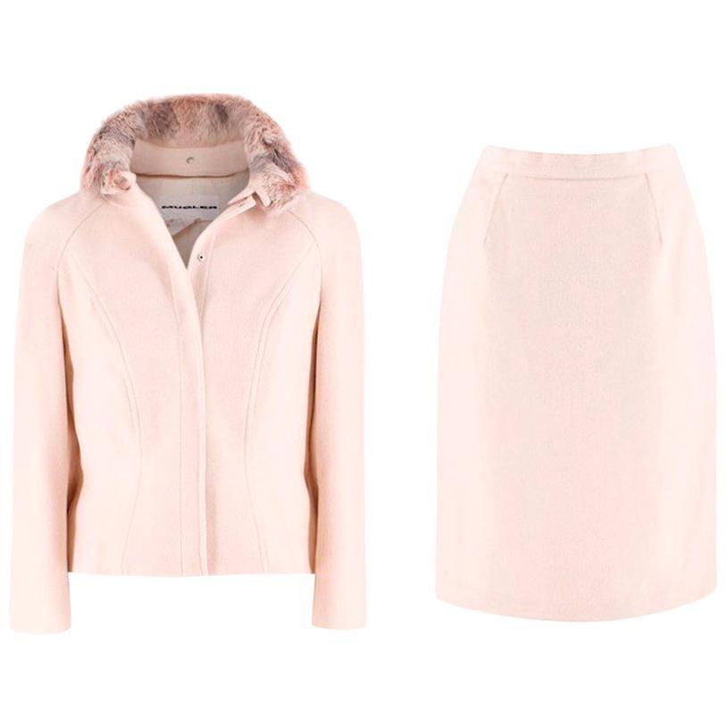Mugler Cream Wool and Cashmere Jacket and Skirt Set US 6