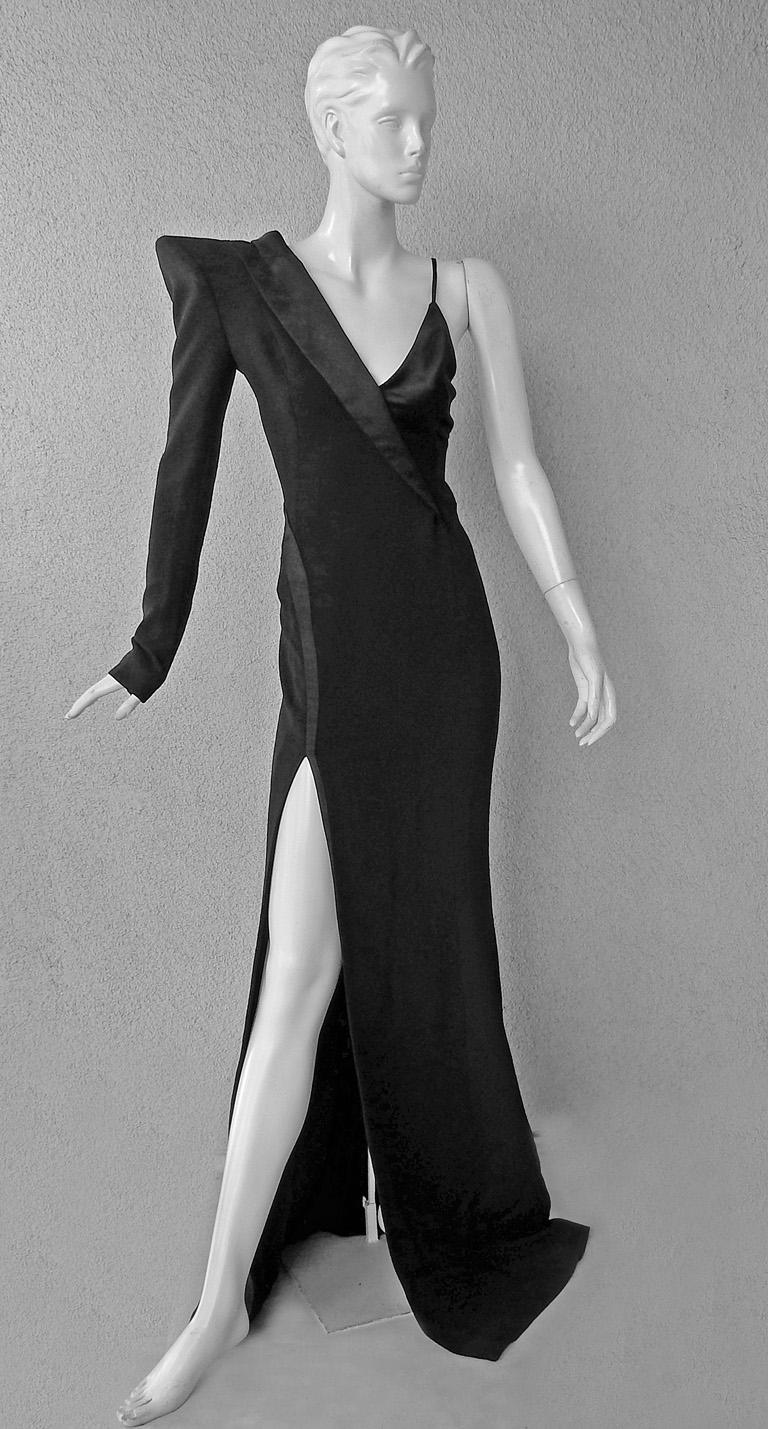 Black Mugler Iconic Sleek & Chic Tux Dress Gown  MUST HAVE!    NWT! For Sale