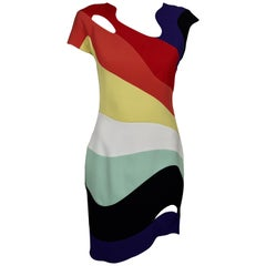 MUGLER PARIS Rainbow Wave Cutout Asymmetric Dress