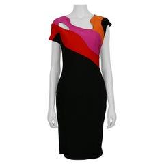 Mugler Short-Sleeve Cutout Black Rainbow Colorblock Sheath Dress